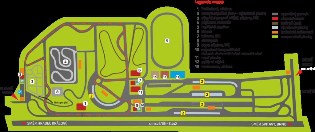 Mapa autodromu Vysoké Mýto, Škola smyku Vysoké Mýto