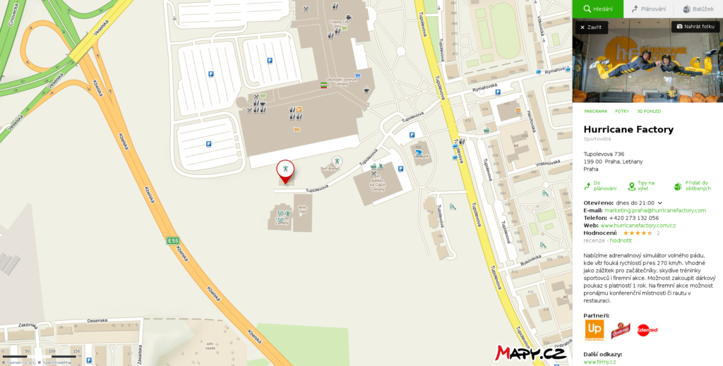 Mapa Hurricane Factory od Mapy.cz